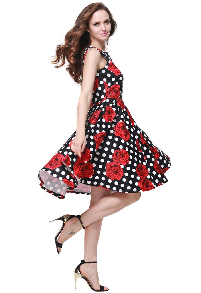 Buenos Ninos Women's Classic 1950s Printed Vintage Retro Rockabilly Party Ball Swing Dress Black with Red Rose L by Buenos Ninos (Image #4)