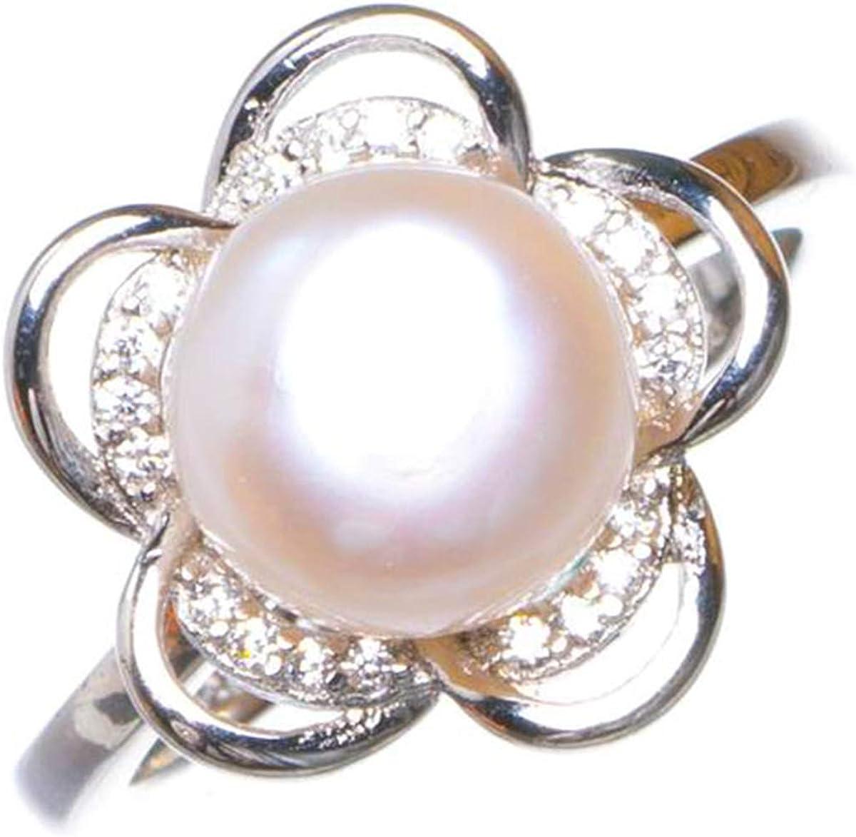 StarGems Anillo de Plata de Ley 925 Hecho a Mano con Apertura de Flor de circón Natural de Perlas de río 11 1/2 D1235