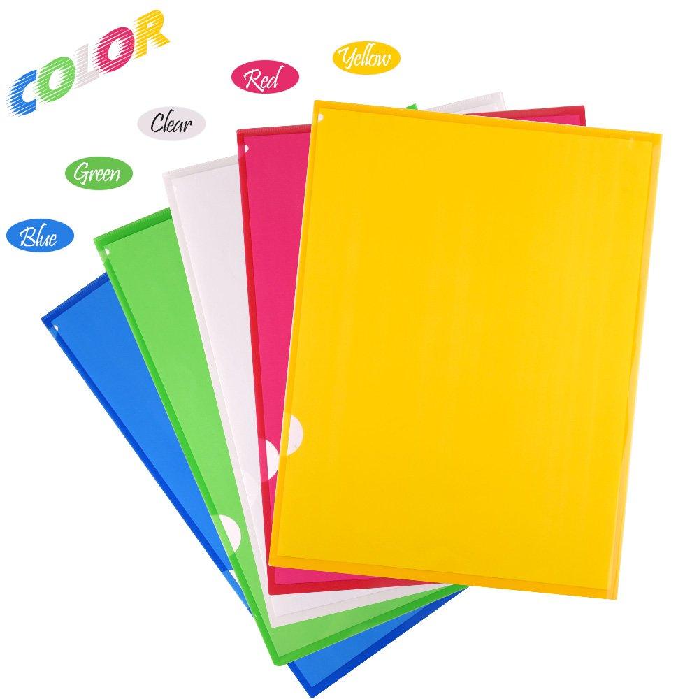 Colori assortiti FEPITO 20 Pacco A4 Pieghevole a scomparsa Cartelle porta documenti in plastica con portafogli