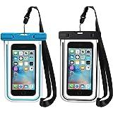 "Custodia Impermeabile [IPX8 Certificato], [2 Pack] Beverly Waterproof Cover per iPhone 7/ 7 Plus/ 6s / 6s plus / 6 / 6 plus / 5s / 5c / 5, Samsung s6 / s6 edge / s5 / s4, ed Smartphone Uguale o Inferiore a 6"" ecc, Custodia impermeabile smartphone (Blu+Nero)"
