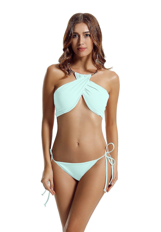 zeraca Women's High Neck Criss Cross Tie Side Bikini Swimsuits 81011