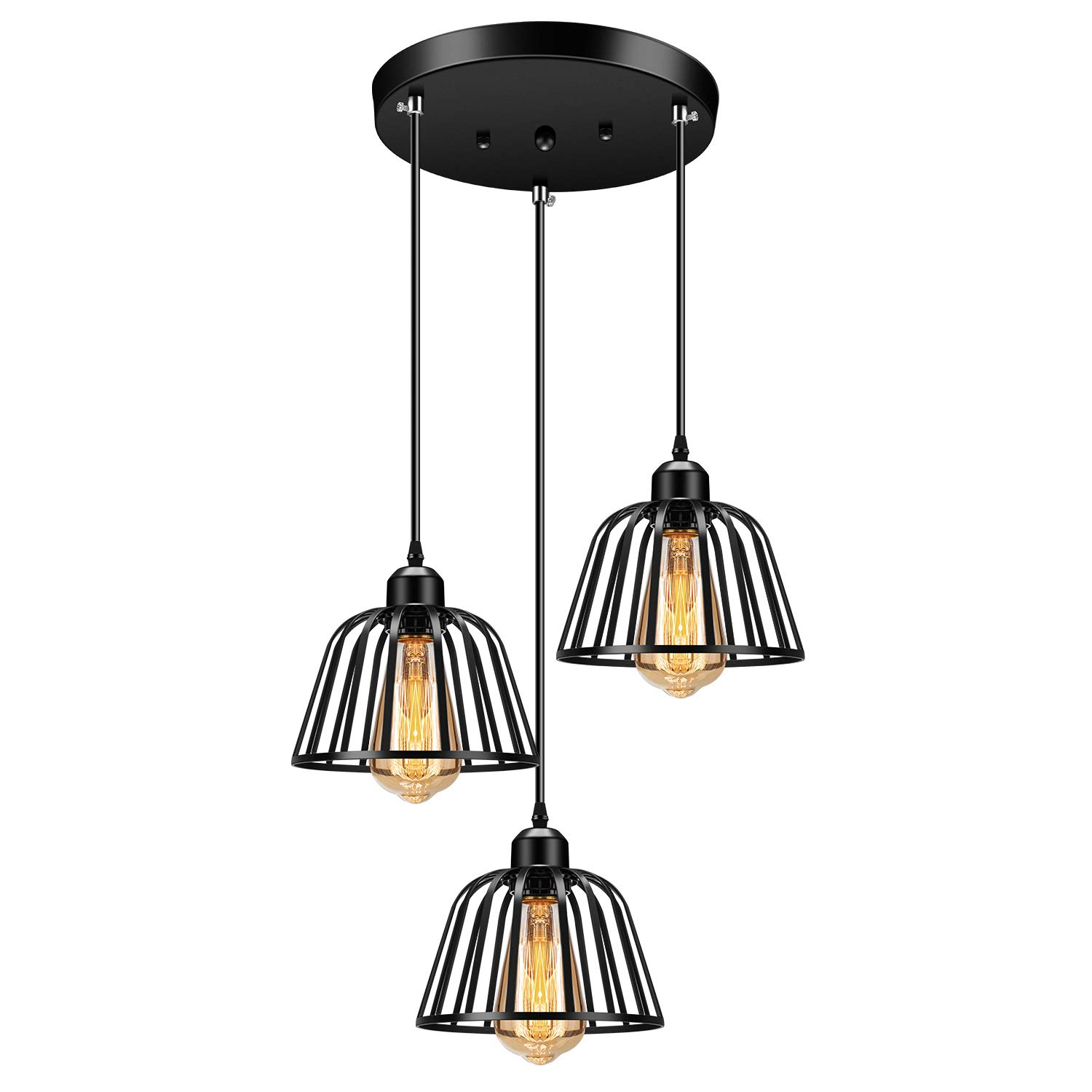 Industrial Pendant 3 Lights Pendant Lighting Fadimikoo Farmhouse Rustic Style Hanging Light With Matte Black Cage Vintage Kitchen Island Pendant Light Fixture For Dining Room Bedroom Hallway Bar Buy Online In China At