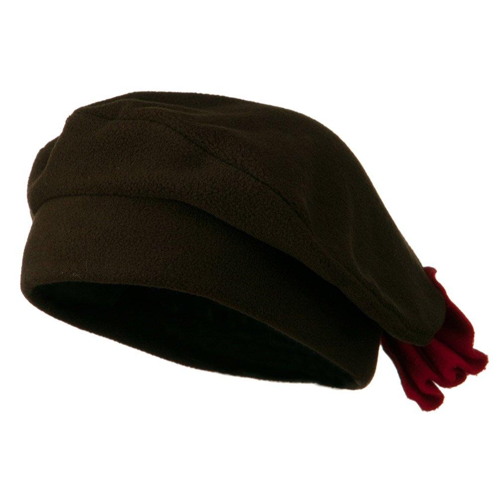 Ladies Fashionable Bow Fleece Beret - Brown OSFM