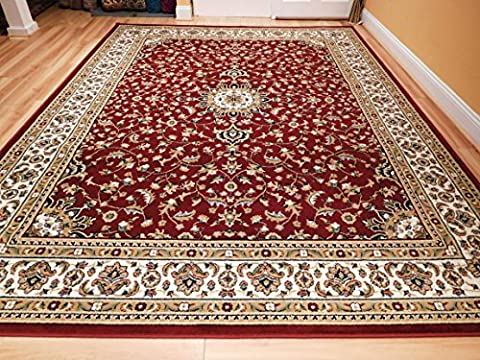 New Traditional Area Rugs 8x10 Medallion Flowers Red Cream Beige Persian Style Rugs For Living Room Rug, Large 8x11 Red (Flower Living Room Rug)