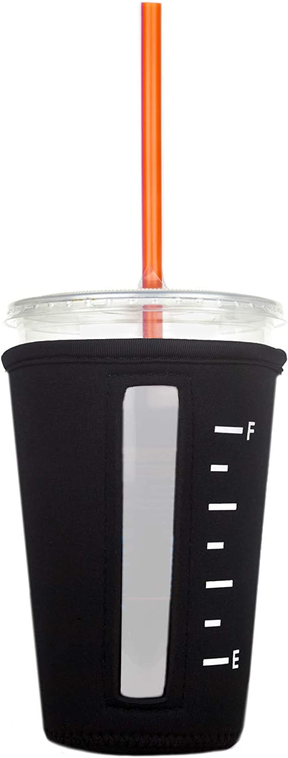 Insulated Neoprene Cup Sleeve for Iced Beverages (Black, Medium)