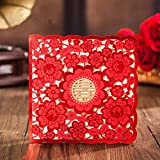 Wishamde CW6057 Red Foiling Flowers Design Wedding invitations With Gold Foiling Double Happiness Wedding Invitation card, Printable (100)