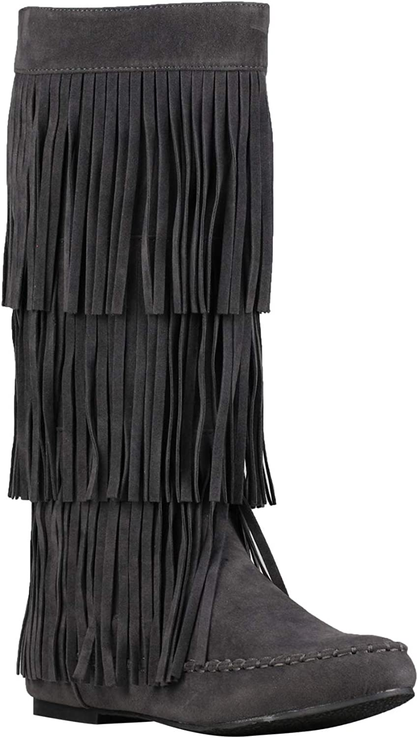 Details about  /New Winter Fashion Women/'s Round Toe Tassle Flats Heels Knee High Boots shoes