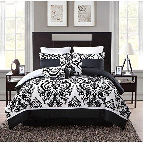 8 Piece Black White Girls Damask Theme Comforter King Set...