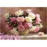 Rrimin Pink Flowers 5D Diamond DIY Painting Craft Kit (40x30 cm, Multicolour)