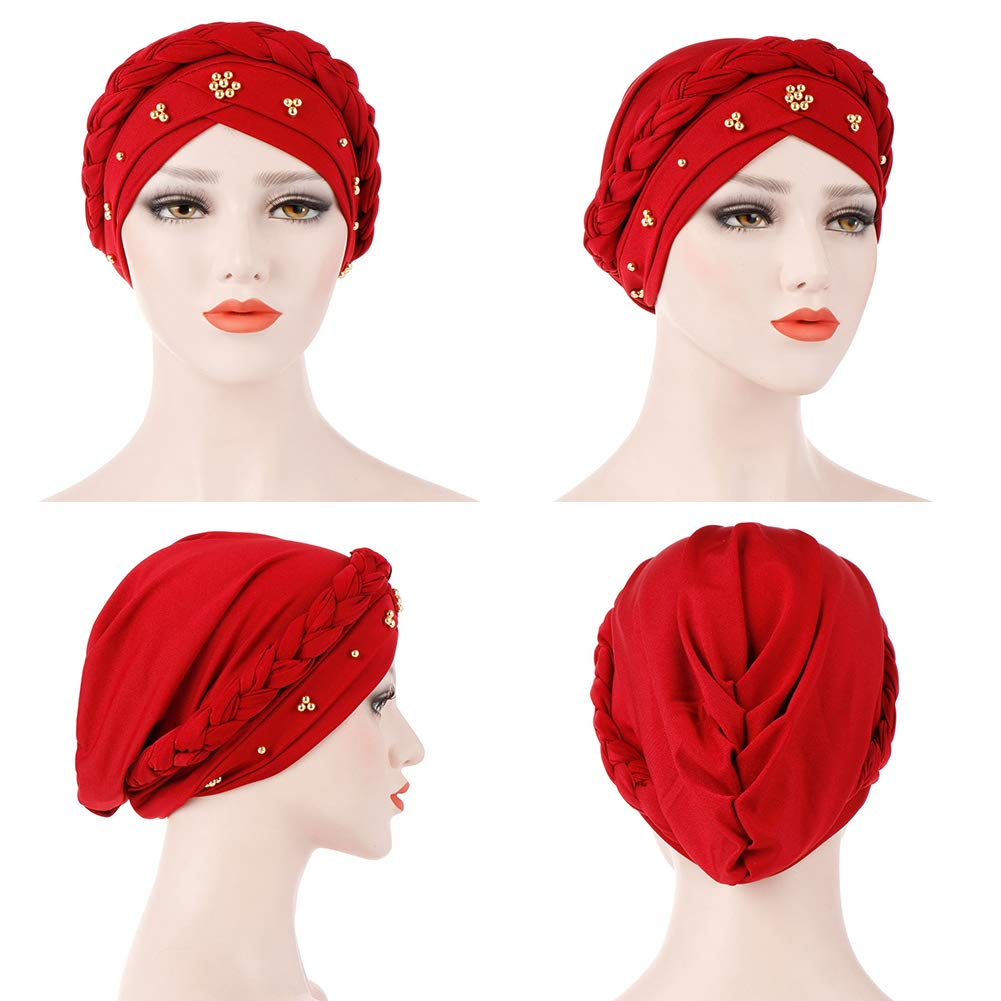 BrawljRORty Muslim Scarf Wraps - Solid Color Braid Beads Decor Women Muslim Hijab Turban Head Scarf Cap Hat by BrawljRORty (Image #4)