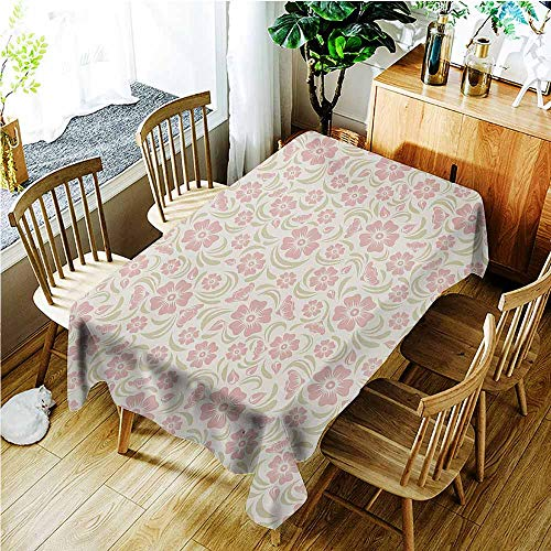 TT.HOME Water Resistant Table Cloth,Flower Vintage Old Fashioned Floral Pattern Silhouettes Briar Shrubs Roses Retro,Modern Minimalist,W60X102L,Rose Pale Green White