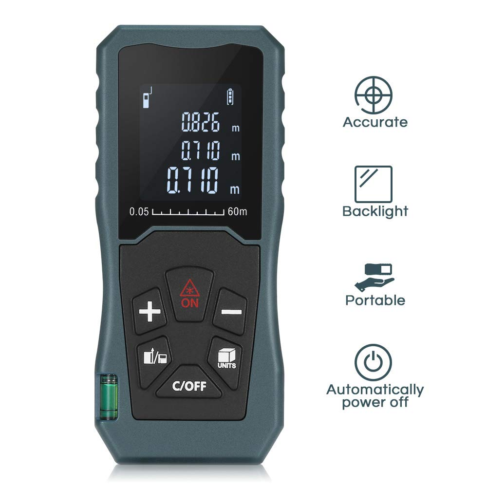 Digital Laser Distance Meter 197FT/ 60M, INLIFE Backlit LCD Laser Measure, Laser Measuring Device with Single-distance, Continuous, Area, Volume Measurement and Pythagorean Modes