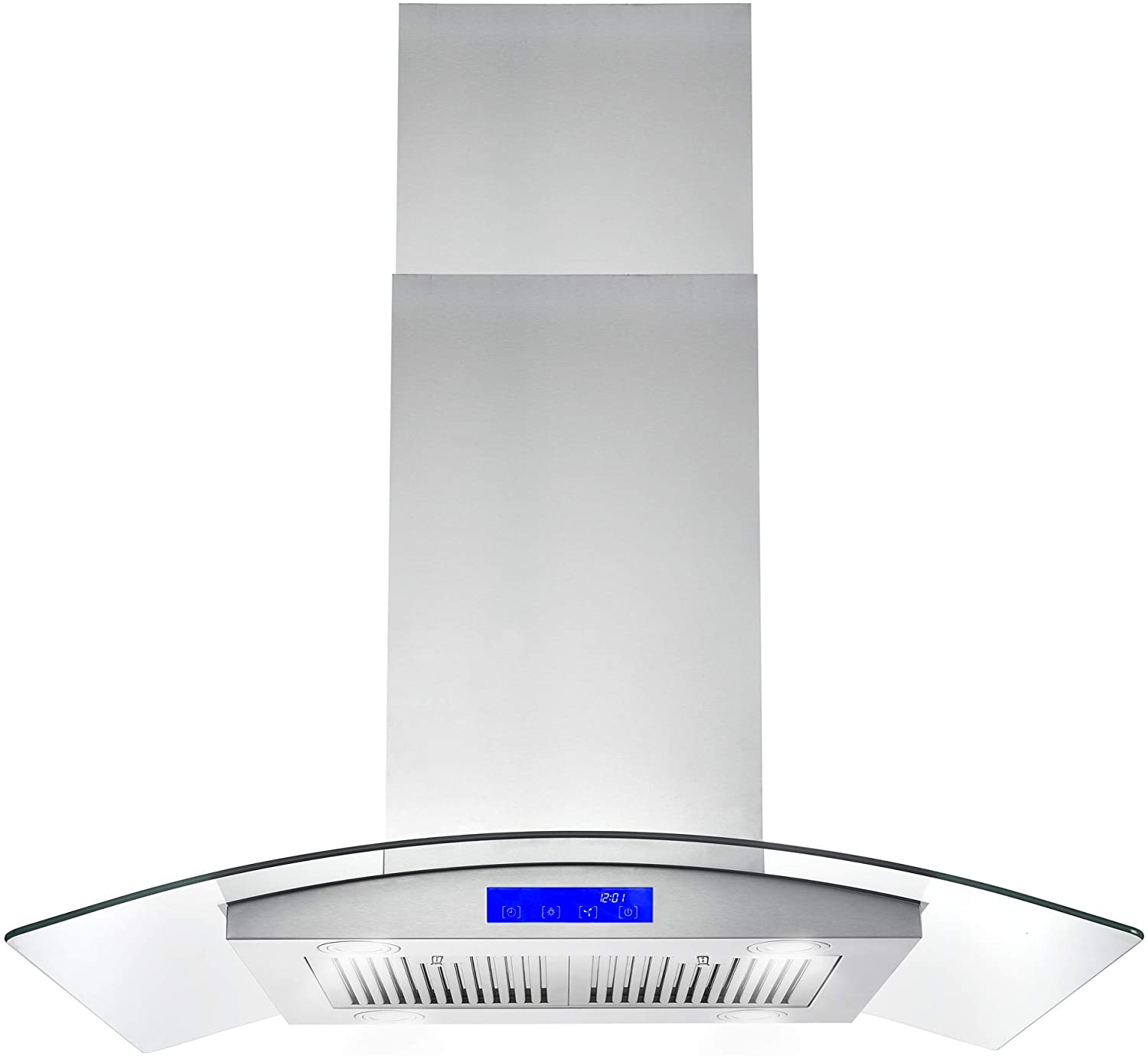 Amazon Com Cosmo 668ics900 36 In Ducted Island Range Hood With Led Lighting And Permanent Filters Stainless Steel Appliances