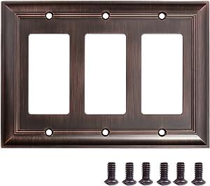 AmazonBasics AB-6006 Triple Gang Wall Plate, 3, Oil Rubbed Bronze