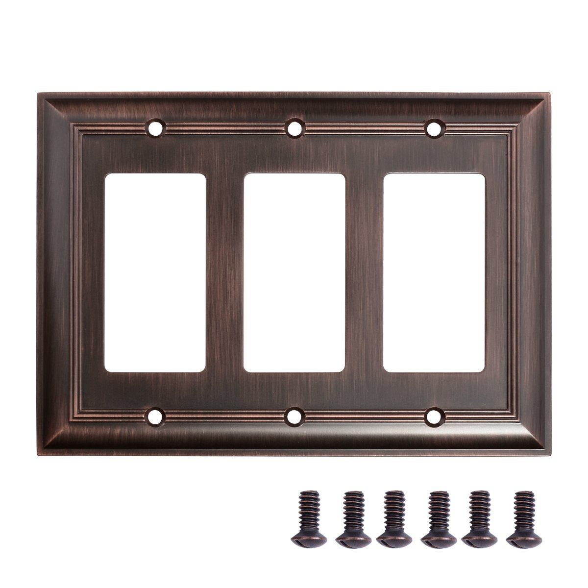 AmazonBasics Triple Gang Wall Plate, Oil Rubbed Bronze, 1-Pack