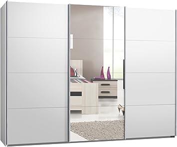 Schwebetürenschrank spiegelfront  Schwebetürenschrank, Kleiderschrank, ca. 300 cm, Weiß mit Spiegel ...