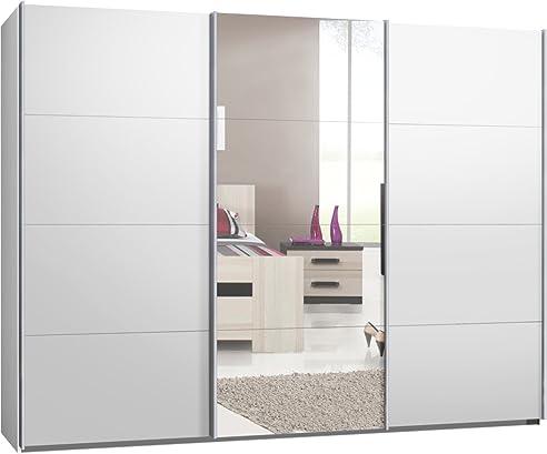 Kleiderschrank weiß spiegel  Schwebetürenschrank, Kleiderschrank, ca. 300 cm, Weiß mit Spiegel ...