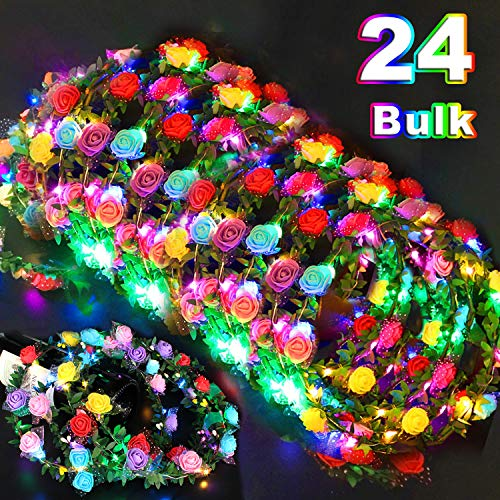 24 Pack LED Flower Crown Colorful Headdress Light Up Flower Wreath Headband Glow in The Dark Party Favors Flashing Garland for Teen Girls Student Dress Up Party Supplies for Classroom Birthday Wedding