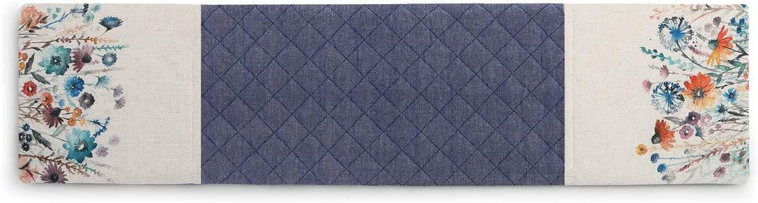 Flower Quilted Floral Blue 30 x 8 Cotton Blend Fabric Double Oven Mitt