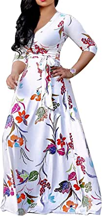 Womens Sexy V Neck Floral Long Maxi Dresses Casual Loose Party Plus Size Dress