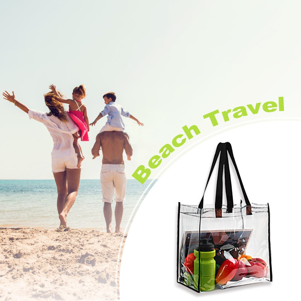 2-Pack Stadium Approved Clear Tote Bag Sports Games and Concerts,12X 12X 6 Perfect for Work School Stadium Security Travel /& Gym Clear Bag