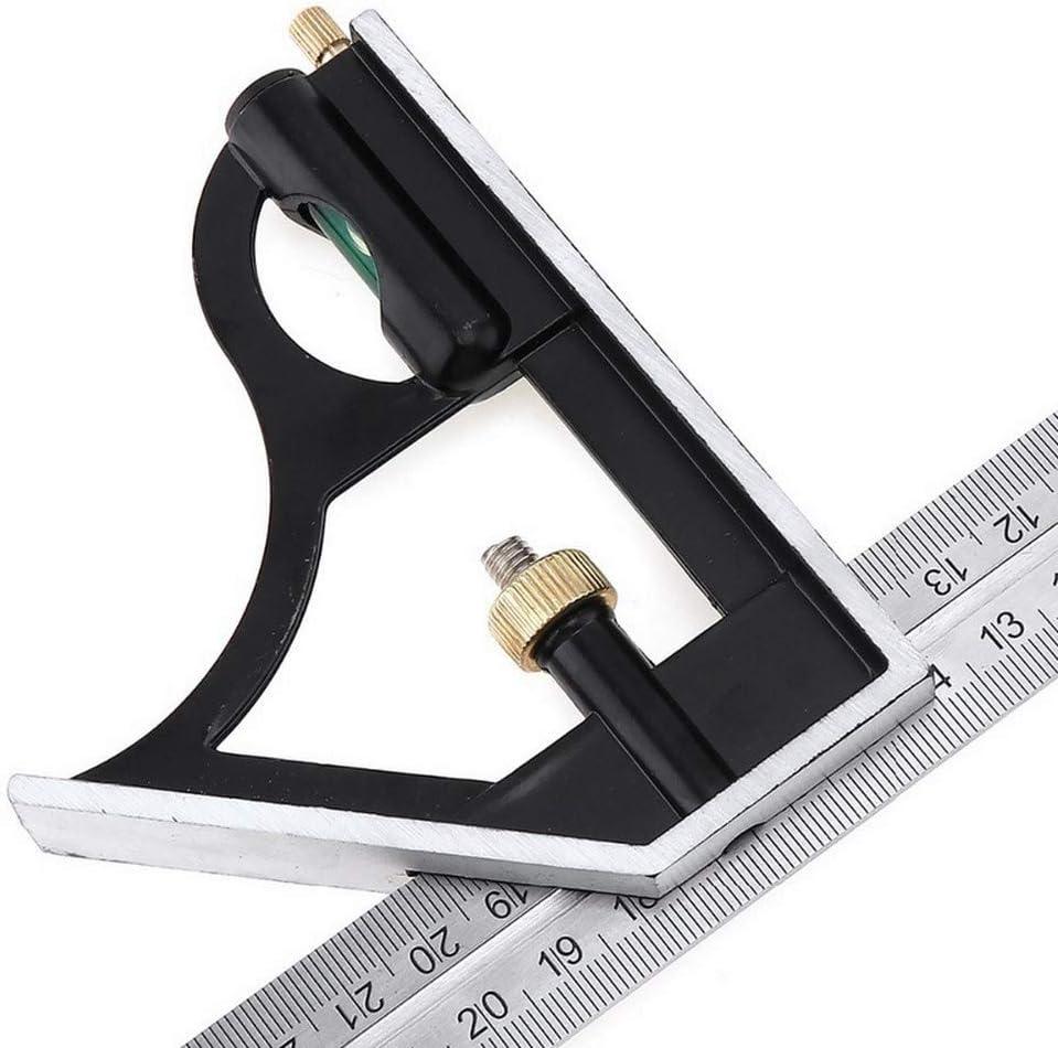 herramienta de carpintero cuadrada regla angular Juego de herramientas cuadradas de combinaci/ón de acero inoxidable de 30 cm