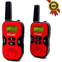 iCore Walkie Talkies for KidsLong Range 2 Way Radios (Pair)22 Channel Built in Flash Light (Red)