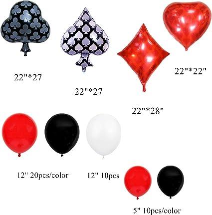 Amazon.com: Paquete de 74 globos de casino rojo y blanco ...