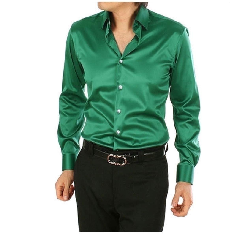 Winwinus Mens Satin Solid Color Charmeuse Plus Size Tshirt Shirt