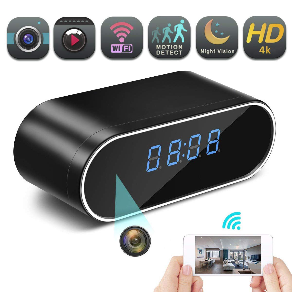 Hidden Spy Camera Wireless Hidden,4K Clock Hidden Cameras Wireless IP Surveillance Anti Mosquito Camera for Home Security Monitor Video Recorder Cam 150 Angle Night Vision Motion Detection(Black) by Feeke