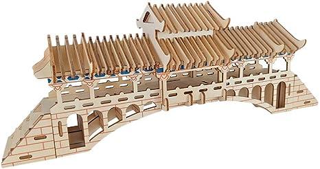 HLMAX Puentes Cubiertos 3D Rompecabezas de Madera Modelo de ...