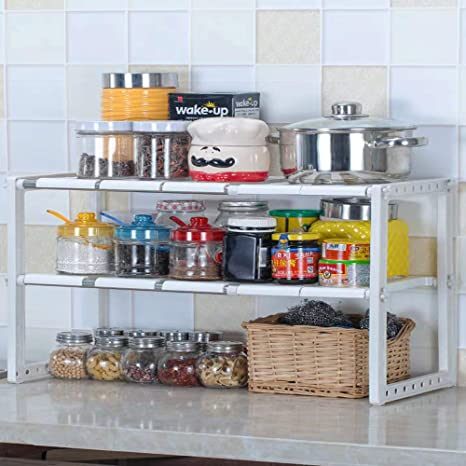 Simple Expandable Under Sink Organizer 2 Tier Kitchen Shelf Organizers Rack  with Classic Korean-style Adjustable Bathroom Cabinet Shelf Organizer ...