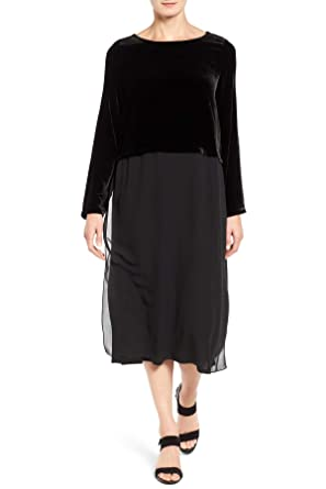 54919ec5602 Eileen Fisher Women s Velvet   Silk Midi Length Shift Dress in Black  (XX-Small