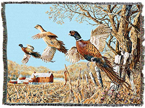 Pure Country Weavers | High Field Pheasants Hunting Flush Woven Tapestry Throw Blanket Cotton with Fringe Cotton USA - Cotton Field Throw
