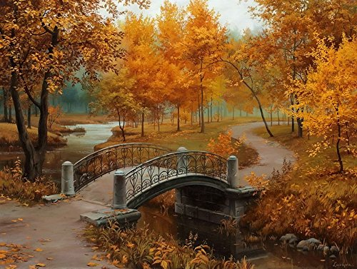 Dahlia Arts Brede Autumn Bridge Scenery Needlework,DMC For Embroidery kits Set 14CT Patterns Cross-Stitching,DIY Handmade Counted Cross Stitch Kits Ne…