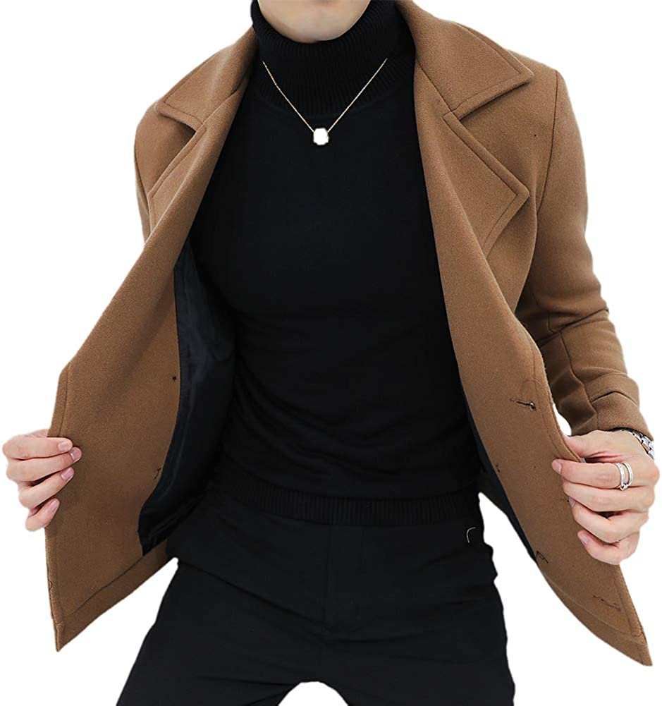 YOUTHUP Mens Double Breasted Wool Coat Slim Fit Short Type Winter Trench Coats Peacoat