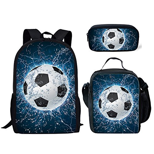 UNICEU Kid's Fashion Cool Water Soccer Printed 3 Piece Backpack 3D Printing School Bag Pencil Lunch Bags