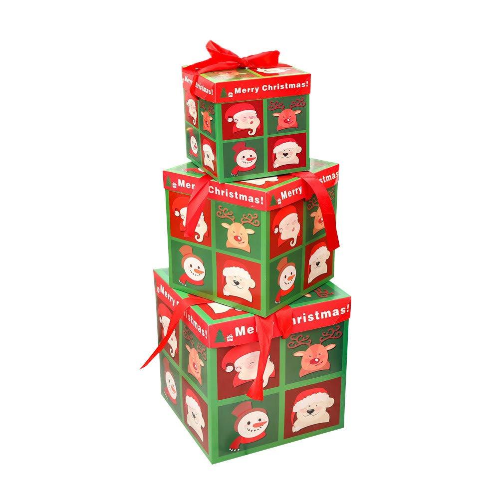 Cloud ROM Weihnachtsdeko Geschenkbox Groß Weihnachten Box mit Deckel Geschenkschachteln Geschenk Weihnachtsfenster-Verzierungen Anhänger Baumschmuck Weihnachten Deko Tür Fenster Home Deko (C) ⚓CLOOM
