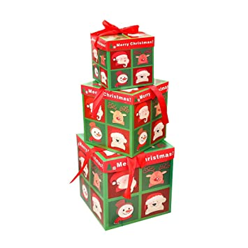 Amazon Com Christmas Eve Gift Box Xmas Present Wrapping Boxes Red