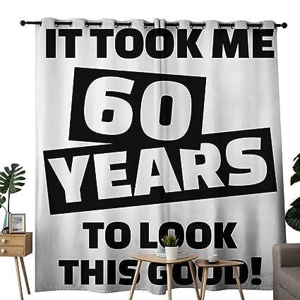 Amazon.com: LewisColeridge Window Curtains 60th Birthday,It ...