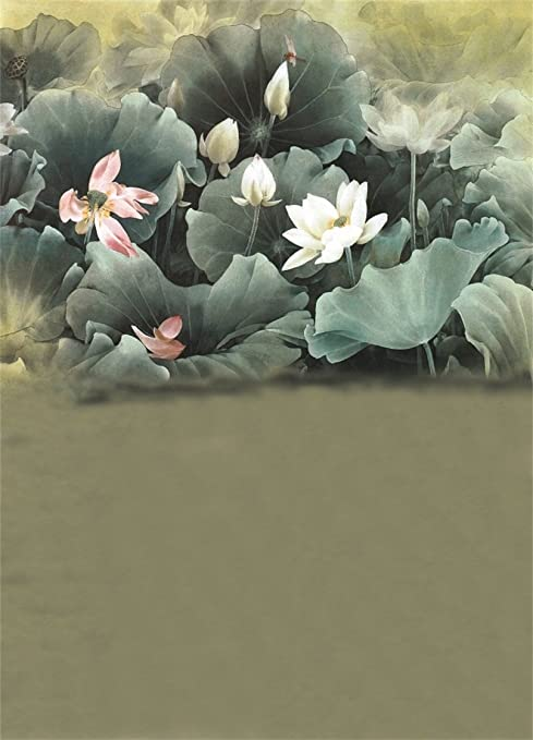 AOFOTO 6x8ft Photography Studio Backdrops Elegant Lotus Leaves Flower  Traditional Chinese Painting Background Girl Adult Portrait Photo Shoot  Props