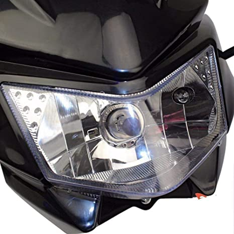 Universal Motorcycle General Refit Ghost Headlights Streetfighter Lights Fairing Headlights Black
