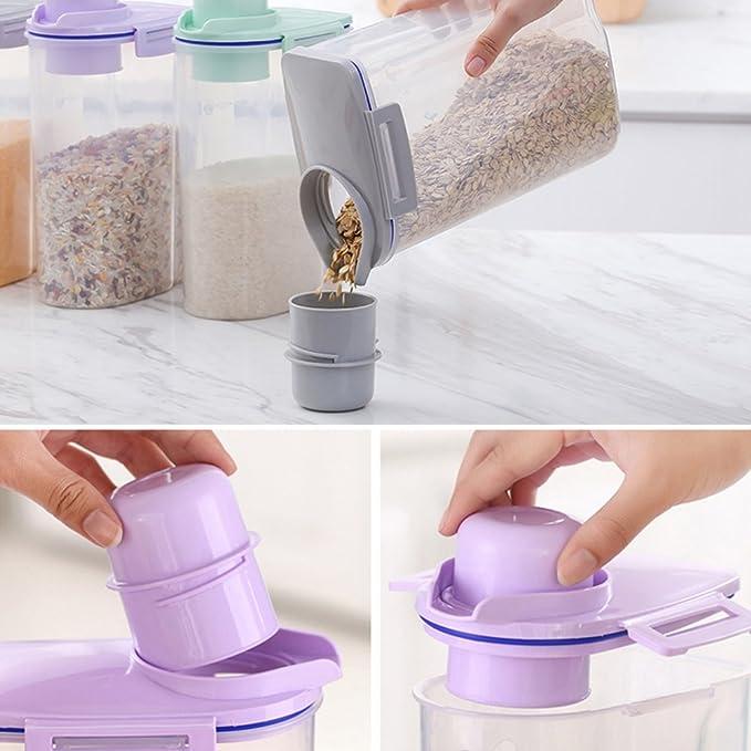 Envase Plástico para Cereal Recipientes de Almacenamiento para Harina de Arroz Estanco Hermético sin BPA 4.4 Lbs / 2KG con Escala Graduada (Verde): ...