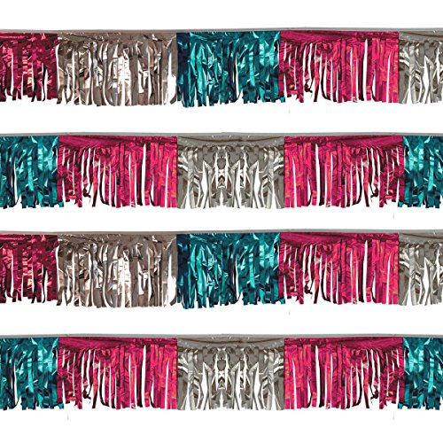 (Pink/Silver/Turquoise Starburst String Pennants (30 ft.))