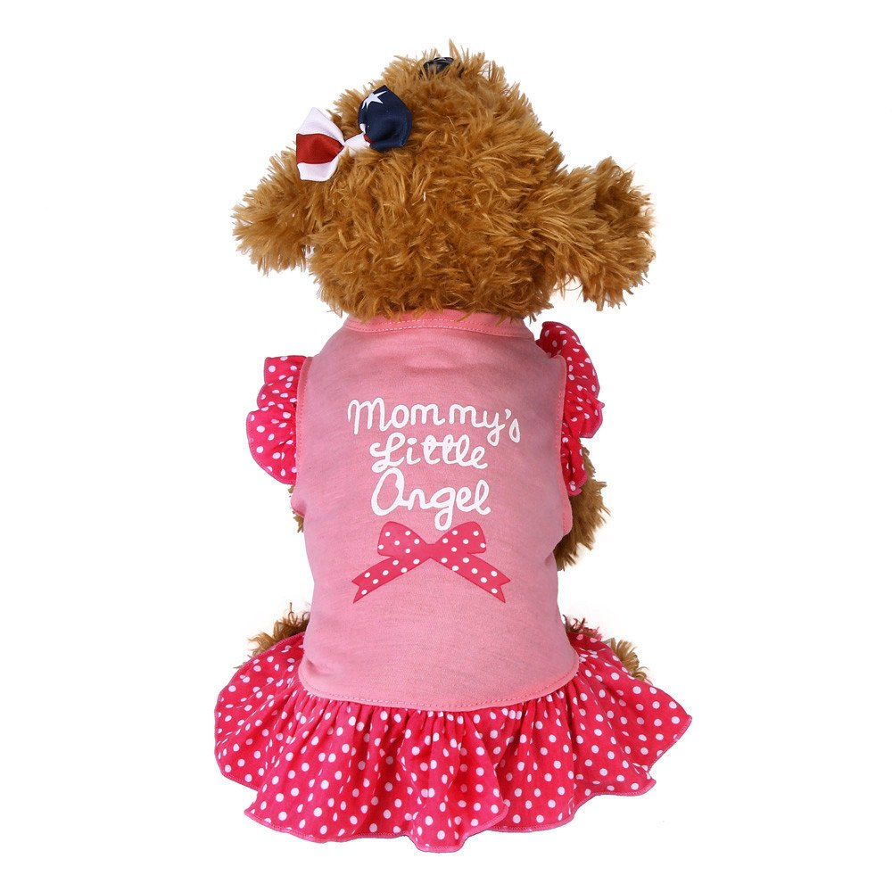 Big Promotion!!Farjing Summer Cute Pet Puppy Small Dog Cat Pet Dress Apparel Clothes Fly Sleeve Dress(,Pink)