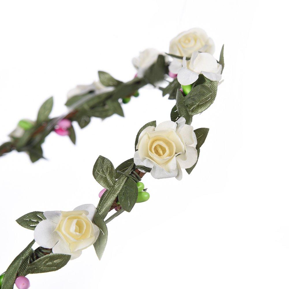 LianLe Blumenkranz Blumen Stirnband Blumen Krone mit Blumen Armband Hochzeit Braut Deko Mothers Day gift