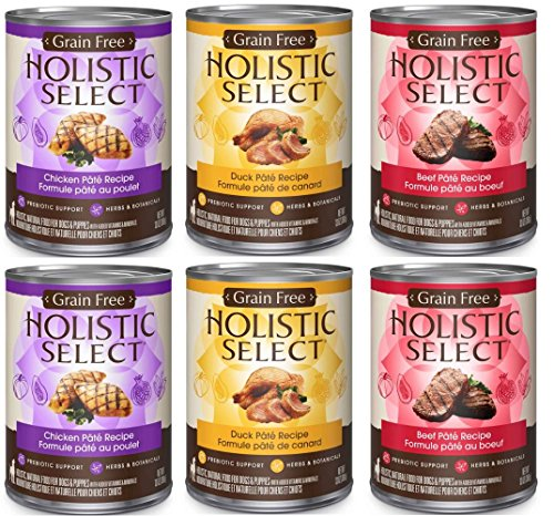 Holistic Select Natural Wet Grain Free Canned Dog Food 3 Flavor Variety Bundle: (2) Chicken Pate Recipe, (2) Duck Pate Recipe, (2) Beef Pate Recipe, 13 Oz Each (6 cans Total)