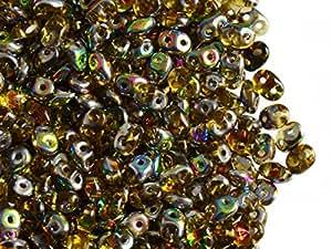 20gr Checa Perlas de Cristal Super Duo Dos agujeros tamaño: 2.5x 5mm TOPAZ VITRAIL