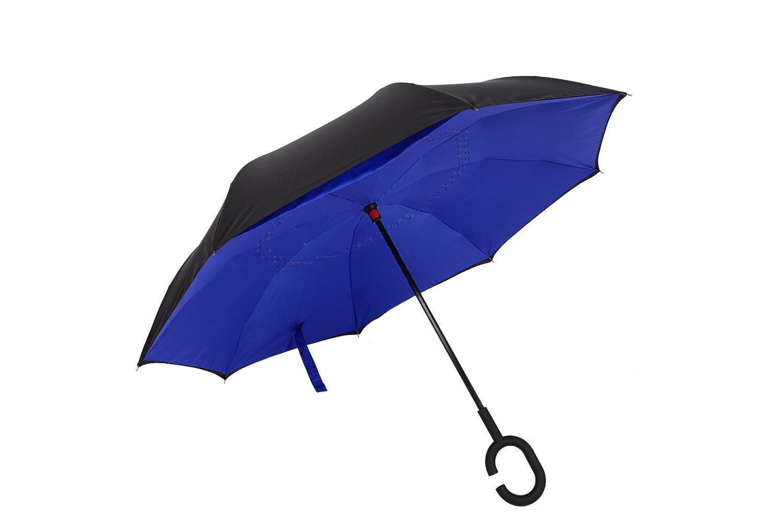 Doble capa de paraguas plegable inversa de TIGER, paraguas invertido con C-manos en forma de mango libre Prueba UV a prueba de viento, impermeable para ...