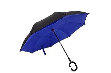 Doble capa de paraguas plegable inversa de TIGER, paraguas invertido con C-manos en
